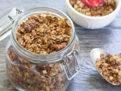 Simply Recipe's Sabrina Modelle explains: he real secret to this granola's magic is how the diced bananas get caramelized and chewy after a long slow cook in the oven. It's the perfect texture to contrast the crunch of oats and nuts.