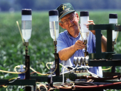 Ultra-low volume herbicide application methods developed by U.S. Department of Agriculture (USDA) Agricultural Research Service (ARS) plant physiologist Chester McWhorter and colleagues could significantly reduce the use of agricultural chemicals. USDA photo by Keith Weller.